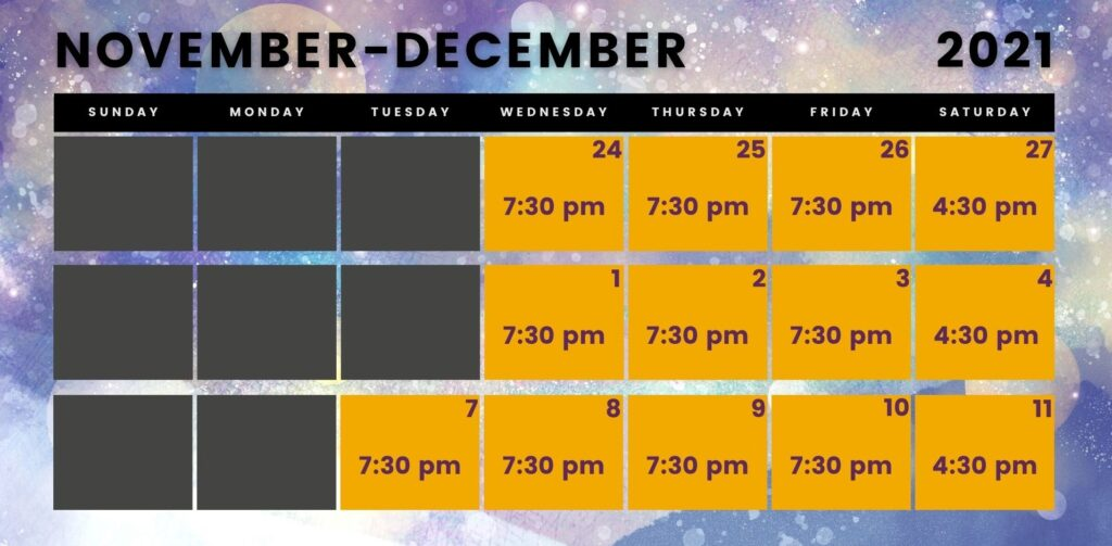 Calendar with the performance dates and times for Jonathan: The Seagull Parable